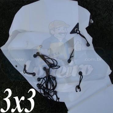 Lona 3,0 x 3,0m Plástica Branca 300 Micras + 25 Elásticos LonaFlex 15cm