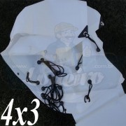 Lona 4,0 x 3,0m Plástica Branca 300 Micras com ilhoses a cada 50cm para Telhado Barraca Cobertura e Proteção Multi Uso + 30 Elásticos LonaFlex 20cm