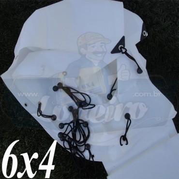 Lona 6,0 x 4,0m Plástica Branca 300 Micras para Telhado, Barraca, Cobertura e Proteção Multi-Uso  + 40 Elásticos LonaFlex 15cm