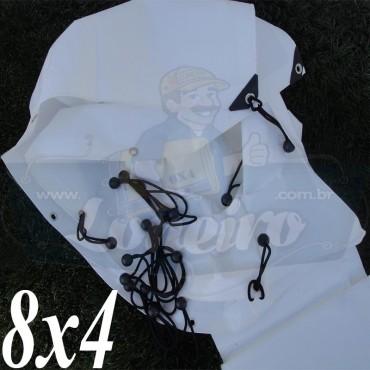 Lona 8,0 x 4,0m Plástica Branca 300 Micras para Telhado, Barraca, Cobertura e Proteção Multi-Uso + 46 Elásticos LonaFlex 20cm