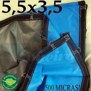 """Lona 5,5 x 3,5m Loneiro 500 Micras PPPE Azul e Cinza com Argolas """"D"""" INOX a cada 50cm + 55 Elásticos LonaFlex 30cm + 20m Corda 4mm"""