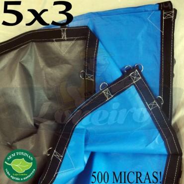 Lona 5,0 x 3,0m Loneiro 500 Micras PPPE Azul e Cinza com argolas