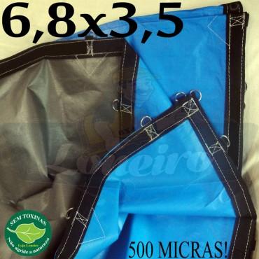 Lona 6,8 x 3,5m Loneiro 500 Micras PPPE Azul e Cinza com argolas