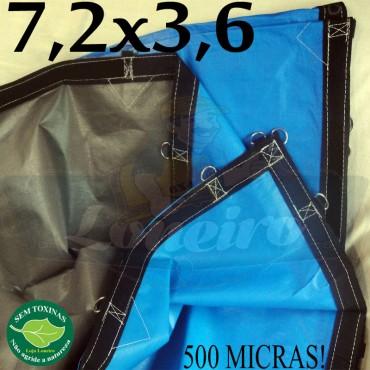 Lona 7,2 x 3,6m Loneiro 500 Micras PPPE Azul e Cinza com argolas