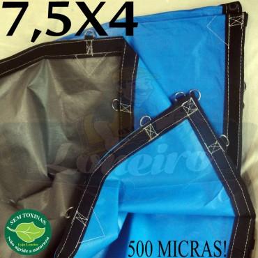 Lona 7,5 x 4,0m Loneiro 500 Micras PPPE Azul e Cinza com argolas