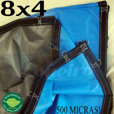 Lona 8,0 x 4,0m Loneiro 500 Micras PPPE Azul e Cinza com argolas
