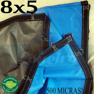 Lona 8,0 x 5,0m Loneiro 500 Micras PPPE Azul e Cinza com argolas