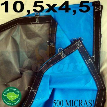 Lona: 10,5 x 4,5m Loneiro 500 Micras Impermeável PPPE Azul e Cinza com argolas