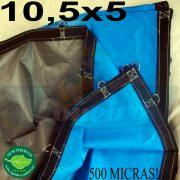 Lona: 10,5 x 5,0m Loneiro 500 Micras PPPE Azul e Cinza com argolas