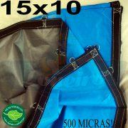 Lona: 15,0 x 10,0m Loneiro 500 Micras PPPE Azul e Cinza com argolas