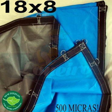Lona: 18,0 x 8,0m Loneiro 500 Micras PPPE Azul e Cinza com argolas