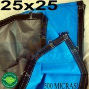 Lona: 25,0 x 25,0m Loneiro 500 Micras PPPE Azul e Cinza com bainha reforçada e Alças de segurança a cada 1 metro!