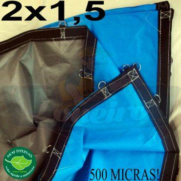 Lona 2,0 x 1,5m Loneiro 500 Micras PPPE Azul e Cinza com argolas