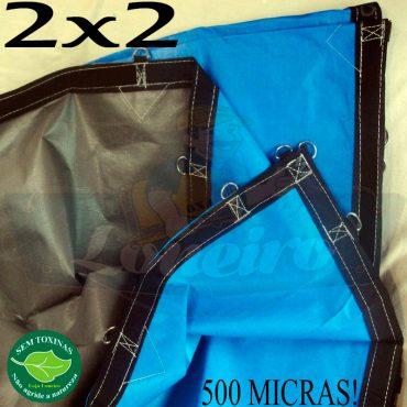 Lona 2,0 x 2,0m Loneiro 500 Micras PPPE Azul e Cinza com argolas