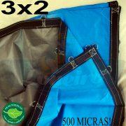 Lona 3,0 x 2,0m Loneiro 500 Micras PPPE Azul e Cinza com argolas