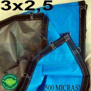 Lona 3,0 x 2,5m Loneiro 500 Micras PPPE Azul e Cinza com argolas