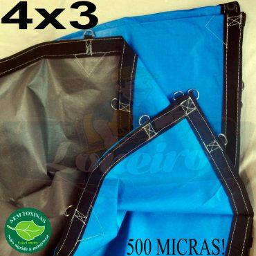 Lona 4,0 x 3,0m Loneiro 500 Micras PPPE Azul e Cinza com argolas