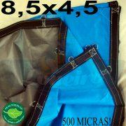 Lona 8,5 x 4,5m Loneiro 500 Micras PPPE Azul e Cinza com argolas