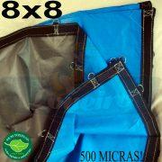 Lona 8,0 x 8,0m Loneiro 500 Micras PPPE Azul e Cinza com argolas