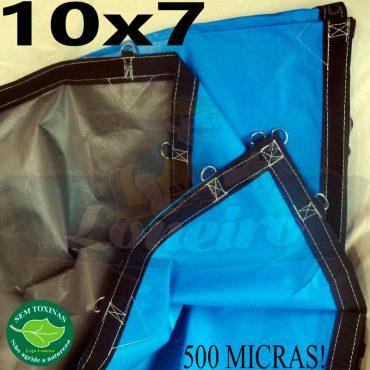 Lona: 10,0 x 7,0m Loneiro 500 Micras PPPE Azul e Cinza com argolas