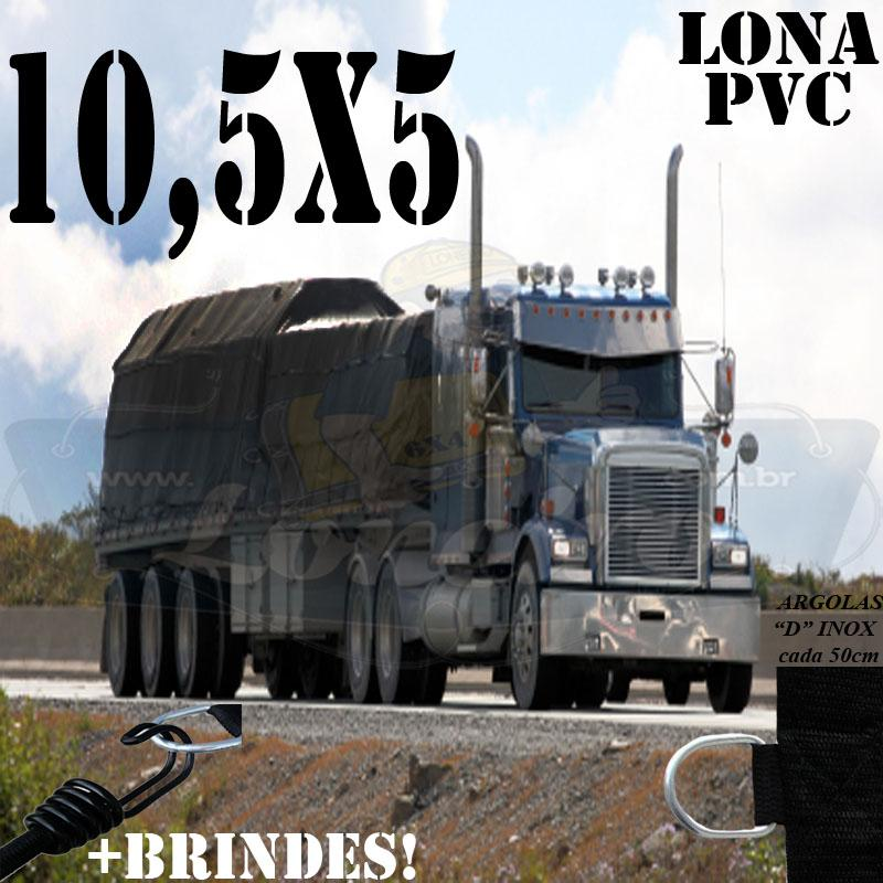 Lona: 10,5 x 5,0m PVC Premium Caminhão Vinil Preto Fosco AntiChamas com 20 LonaFlex Gancho 25cm e 20 LonaFlex Gancho 50cm 1 ROW 0,75m