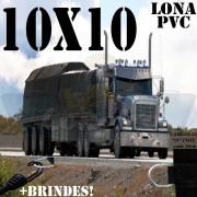 Lona: 10,0 x 10,0m PVC Premium Caminhão Vinil Preto Fosco AntiChamas com 30 LonaFlex Gancho 25cm e 30 LonaFlex Gancho 50cm