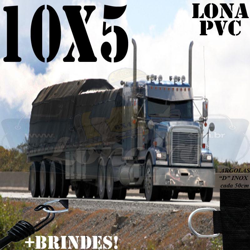 Lona: 10,0 x 5,0m PVC Premium Caminhão Vinil Preto Fosco AntiChamas com 20 LonaFlex Gancho 25cm e 20 LonaFlex Gancho 50cm