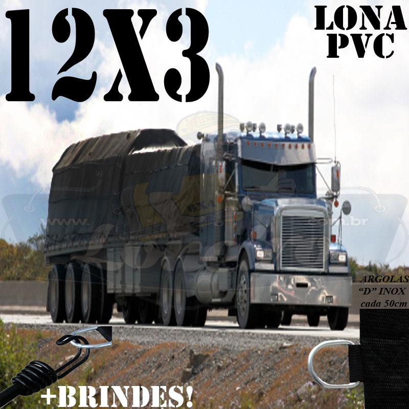 Lona: 12,0 x 3,0m PVC Premium Caminhão Vinil Preto Fosco AntiChamas com 18 LonaFlex Gancho 25cm e 18 LonaFlex Gancho 50cm 1 ROW 0,35m