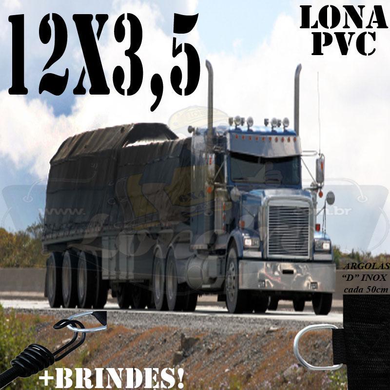 Lona: 12,0 x 3,5m PVC Premium Caminhão Vinil Vinilona Preto Fosco AntiChamas com 18 LonaFlex Gancho 25cm e 18 LonaFlex Gancho 50cm 1 ROW 0,35m
