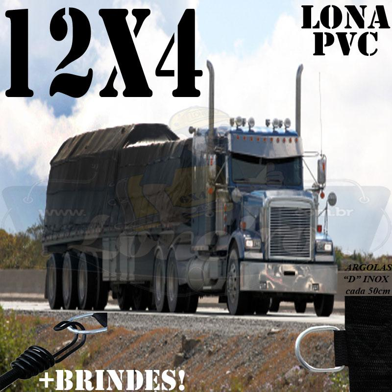 Lona: 12,0 x 4,0m PVC Premium Caminhão Vinil Vinilona Preto Fosco AntiChamas com 19 LonaFlex Gancho 25cm e 19 LonaFlex Gancho 50cm 1 ROW 0,35m