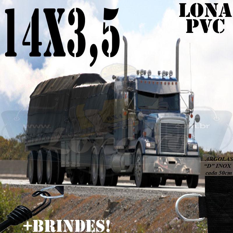 Lona: 14,0 x 3,5m PVC Premium Caminhão Vinil Vinilona Preto Fosco AntiChamas com 20 LonaFlex Gancho 25cm e 20 LonaFlex Gancho 50cm