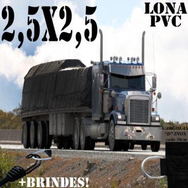 Lona 2,5 x 2,5m PVC Premium Caminhão Vinil Preto Fosco AntiChamas com 6 LonaFlex Gancho 25cm e 6 LonaFlex Gancho 50cm