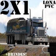 Lona 2,0 x 1,0m PVC Premium Caminhão Vinil Preto Fosco AntiChamas com 4 LonaFlex Gancho 25cm e 4 LonaFlex Gancho 50cm