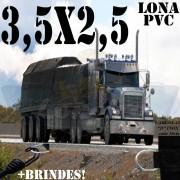 Lona 3,5 x 2,5m PVC Premium Caminhão Vinil Preto Fosco AntiChamas com 8 LonaFlex Gancho 25cm e 8 LonaFlex Gancho 50cm