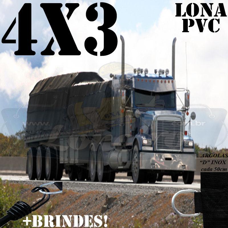 Lona 4,0 x 3,0m PVC Premium Caminhão Vinil Preto Fosco AntiChamas com 10 LonaFlex Gancho 25cm e 10 LonaFlex Gancho 50cm