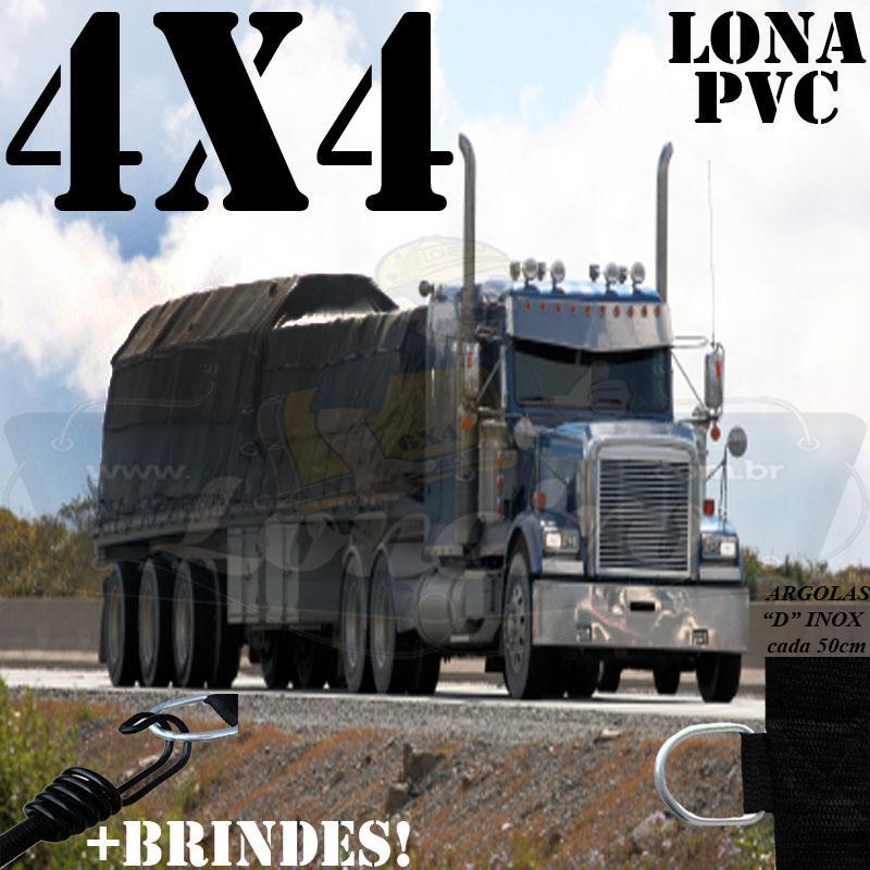 Lona 4,0 x 4,0m PVC Premium Caminhão Vinil Preto Fosco AntiChamas com 12 LonaFlex Gancho 25cm e 12 LonaFlex Gancho 50cm