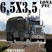 Lona 6,5 x 3,5m PVC Premium Caminhão Vinil Preto Fosco AntiChamas com 15 LonaFlex Gancho 25cm e 15 LonaFlex Gancho 50cm