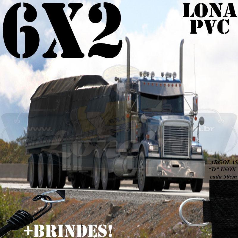 Lona 6,0 x 2,0m PVC Premium Caminhão Vinil Preto Fosco AntiChamas com 10 LonaFlex Gancho 25cm e 10 LonaFlex Gancho 50cm