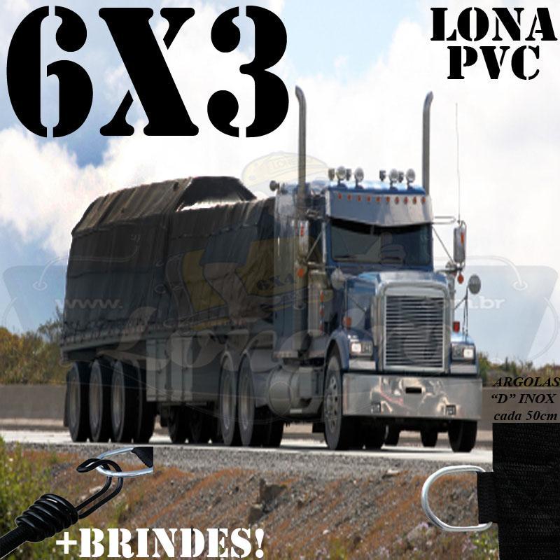 Lona 6,0 x 3,0m PVC Premium Caminhão Vinil Preto Fosco AntiChamas com 12 LonaFlex Gancho 25cm e 12 LonaFlex Gancho 50cm 1 ROW 0,35m