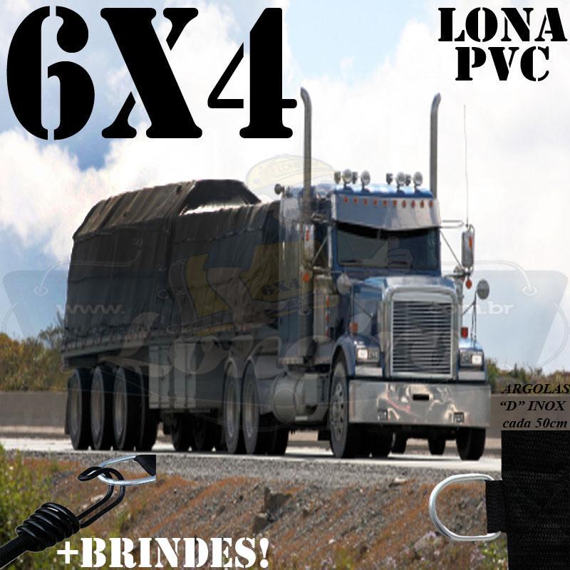 Lona 6,0 x 4,0m PVC Premium Caminhão Vinil Preto Fosco AntiChamas com 14 LonaFlex Gancho 25cm e 14 LonaFlex Gancho 50cm
