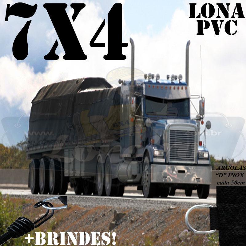 Lona 7,0 x 4,0m PVC Premium Caminhão Vinil Preto Fosco AntiChamas com 14 LonaFlex Gancho 25cm e 14 LonaFlex Gancho 50cm
