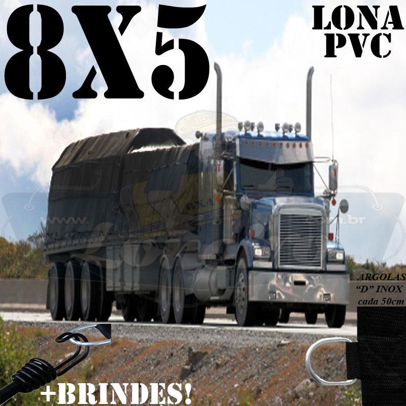 Lona 8,0 x 5,0m PVC Premium Caminhão Vinil Preto Fosco AntiChamas com 17 LonaFlex Gancho 25cm e 17 LonaFlex Gancho 50cm 1 ROW 0,75m
