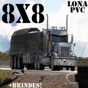 Lona 8,0 x 8,0m PVC Premium Caminhão Vinil Preto Fosco AntiChamas com 25 LonaFlex Gancho 25cm e 25 LonaFlex Gancho 50cm