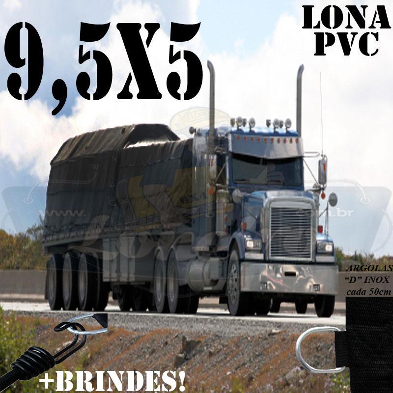 Lona 9,5 x 5,0m PVC Premium Caminhão Vinil Preto Fosco AntiChamas com 18 LonaFlex Gancho 25cm e 18 LonaFlex Gancho 50cm 1 ROW 0,75m