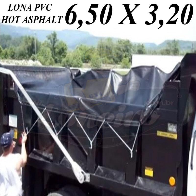 Lona 6,5 x 3,2m PVC HOT ASPHALT RESISTÊNCIA de + 200°C Caminhão Vinil Preto Fosco Transporte Massa Asfalto Quente CBUQ + Corda Elástica na bainha