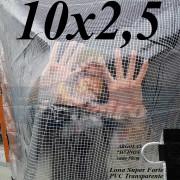 Lona: 10,0 x 2,5 m Transparente Crystal Super PVC Vinil 700 Micras com Tela de Poliéster Impermeável + 27 LonaFlex Gancho de 50cm