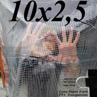 """Lona: 10,0 x 2,5 m Transparente Crystal Super PVC Vinil 700 Micras com Tela de Poliéster Impermeável com argolas """"D"""" INOX a cada 50cm"""