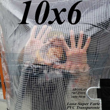 Lona: 10,0 x 6,0 m Transparente Crystal Super PVC Vinil 700 Micras com Tela de Poliéster Impermeável + 34 LonaFlex Gancho de 50cm