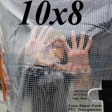 Lona: 10,0 x 8,0 m Transparente Crystal Super PVC Vinil 700 Micras com Tela de Poliéster Impermeável + 38 LonaFlex Gancho de 50cm