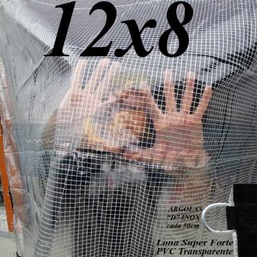"""Lona: 12,0 x 8,0 m Transparente Crystal Super PVC Vinil 700 Micras com Tela de Poliéster Impermeável com argolas """"D"""" INOX a cada 50cm"""